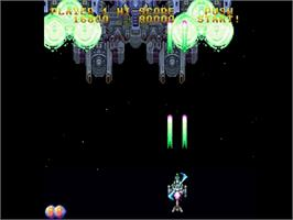 In game image of Gekirindan: Time Travel Shooting on the Sega Saturn.