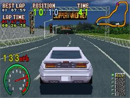 In game image of Highway 2000 on the Sega Saturn.