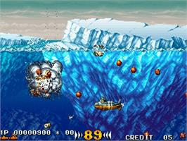 In game image of In The Hunt on the Sega Saturn.
