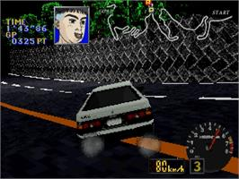 In game image of Initial D on the Sega Saturn.