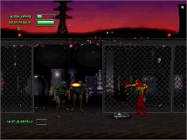 In game image of Iron Man / X-O Manowar in Heavy Metal on the Sega Saturn.