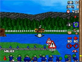 In game image of Lemmings 3D on the Sega Saturn.