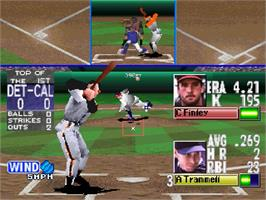 In game image of MLBPA: Bottom of the 9th on the Sega Saturn.