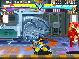 In game image of Marvel Super Heroes on the Sega Saturn.