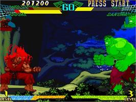 In game image of Marvel Super Heroes Vs. Street Fighter on the Sega Saturn.