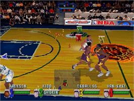 In game image of NBA Jam Extreme on the Sega Saturn.