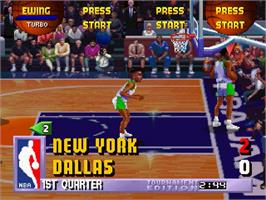 In game image of NBA Jam TE on the Sega Saturn.