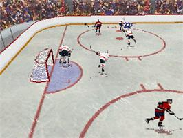 In game image of NHL All-Star Hockey on the Sega Saturn.