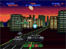 In game image of Night Striker S on the Sega Saturn.
