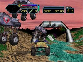 In game image of Off-World Interceptor Extreme on the Sega Saturn.