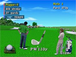 In game image of Pebble Beach Golf Links on the Sega Saturn.