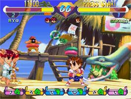 In game image of Pocket Fighter on the Sega Saturn.