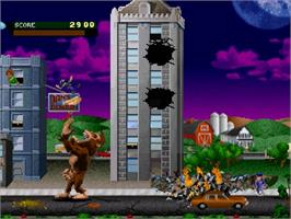 In game image of Rampage: World Tour on the Sega Saturn.