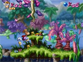 In game image of Rayman on the Sega Saturn.