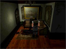 In game image of Resident Evil on the Sega Saturn.