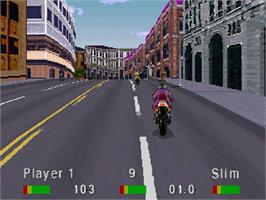 In game image of Road Rash on the Sega Saturn.