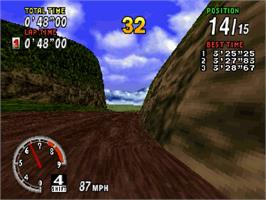 In game image of Sega Rally Championship on the Sega Saturn.