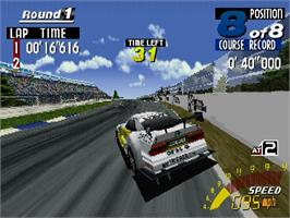 In game image of Sega Touring Car Championship on the Sega Saturn.