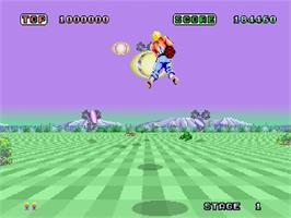 In game image of Space Harrier on the Sega Saturn.