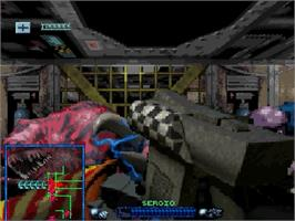 In game image of Space Hulk: Vengeance of the Blood Angels on the Sega Saturn.