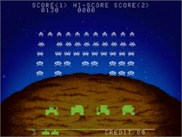 In game image of Space Invaders on the Sega Saturn.