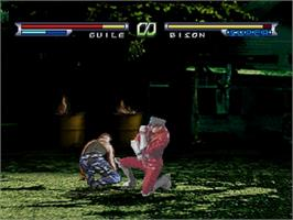 In game image of Street Fighter: The Movie on the Sega Saturn.