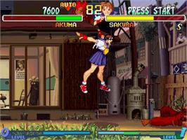 In game image of Street Fighter Alpha 2 on the Sega Saturn.
