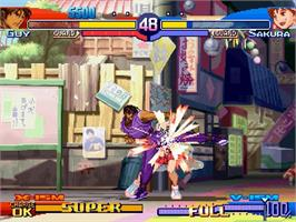 In game image of Street Fighter Alpha 3 on the Sega Saturn.