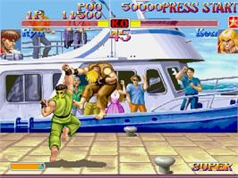 In game image of Street Fighter Collection on the Sega Saturn.