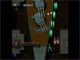 In game image of Strikers 1945 on the Sega Saturn.