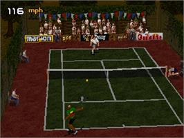 In game image of Tennis Arena on the Sega Saturn.