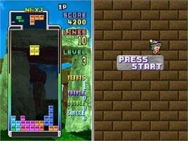 In game image of Tetris Plus on the Sega Saturn.
