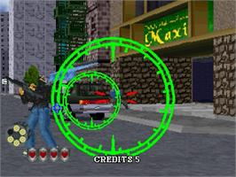 In game image of Virtua Cop 2 on the Sega Saturn.