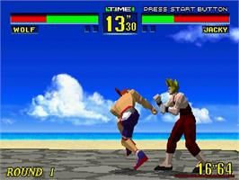In game image of Virtua Fighter on the Sega Saturn.