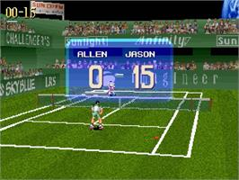In game image of Virtual Open Tennis on the Sega Saturn.