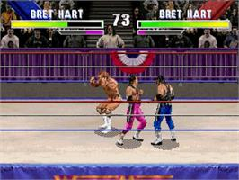 In game image of WWF Wrestlemania on the Sega Saturn.
