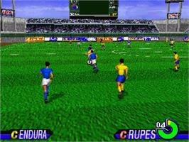 In game image of Worldwide Soccer: Sega International Victory Goal Edition on the Sega Saturn.