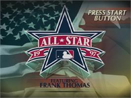 Title screen of All Star Baseball '97 Featuring Frank Thomas on the Sega Saturn.
