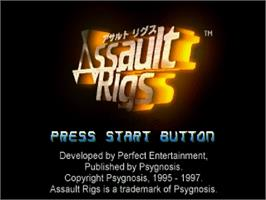 Title screen of Assault Rigs on the Sega Saturn.