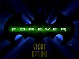 Title screen of Batman Forever on the Sega Saturn.