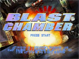 Title screen of Blast Chamber on the Sega Saturn.