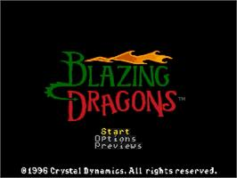 Title screen of Blazing Dragons on the Sega Saturn.