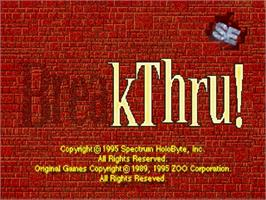 Title screen of Break Thru on the Sega Saturn.