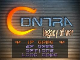 Title screen of Contra: Legacy of War on the Sega Saturn.