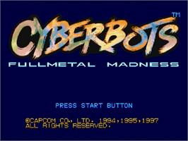 Title screen of Cyberbots: Full Metal Madness on the Sega Saturn.