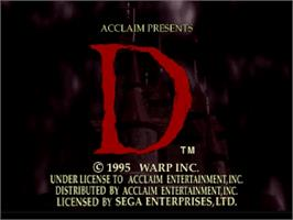 Title screen of D on the Sega Saturn.