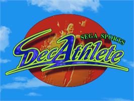 Title screen of Decathlete on the Sega Saturn.