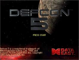 Title screen of Defcon 5 on the Sega Saturn.
