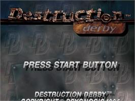 Title screen of Destruction Derby on the Sega Saturn.