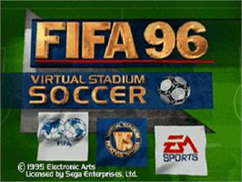 Title screen of FIFA 96 on the Sega Saturn.